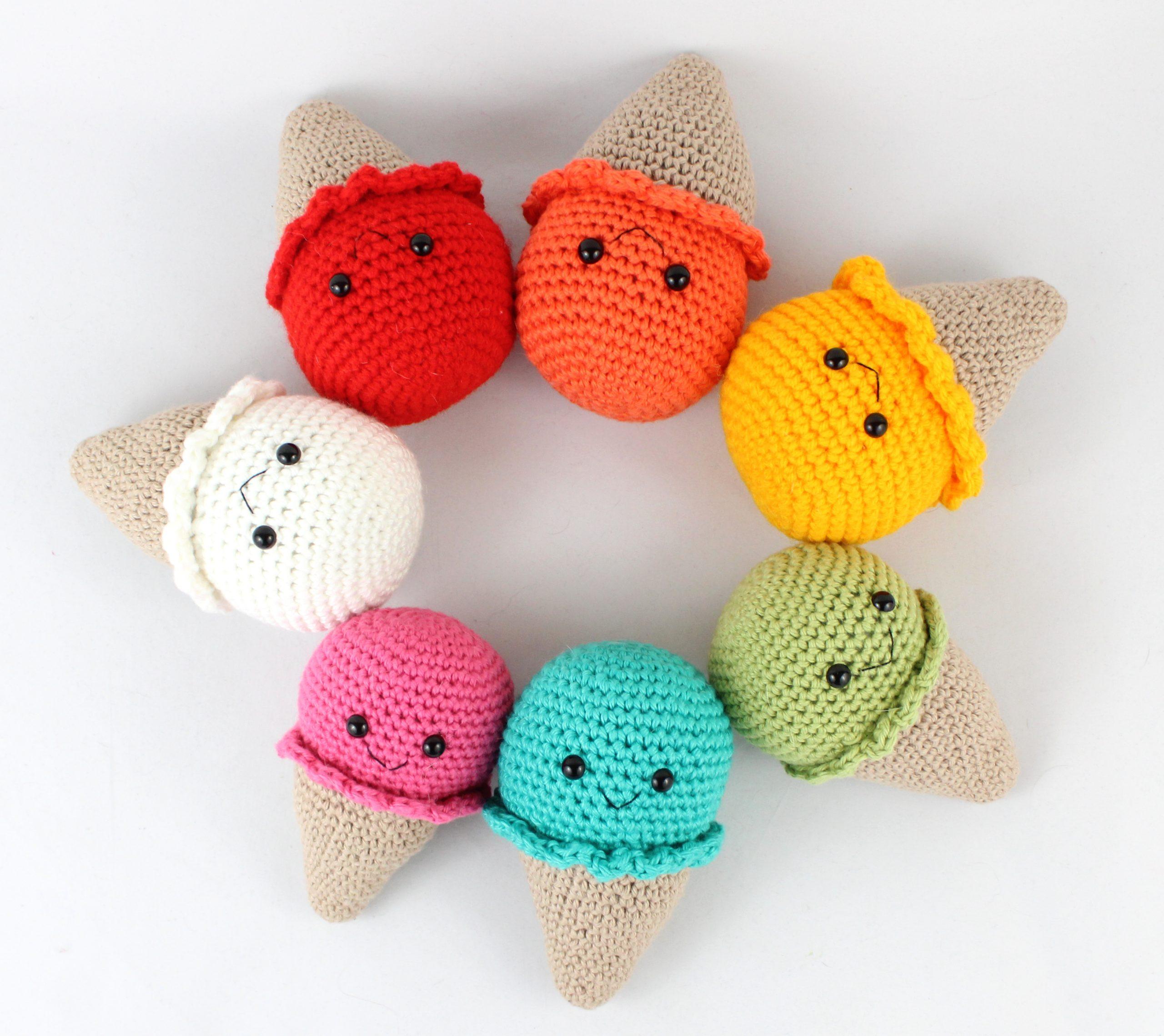 Free Crochet Keychain Pattern- Ice Cream Cone - thefriendlyredfox.com | 2279x2560