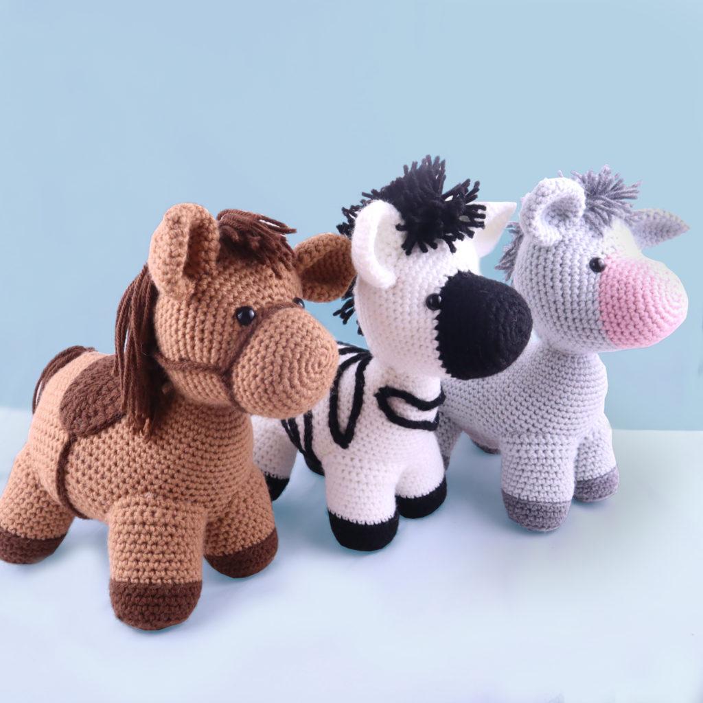 Free horse zebra donkey bundle amigurumi crochet pattern