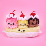 Banana Split Ice Cream Amigurumi – Free Crochet Pattern