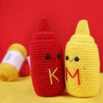 Ketchup and Mustard Bottles Amigurumi – Free Crochet Pattern